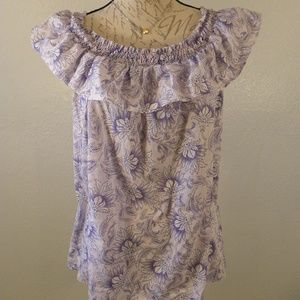 Willi Smith Blouse Floral Violet White Size Large